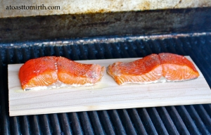 Salmon steaks grillin' on their cedar planks