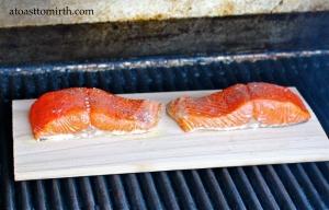 Salmon steaks grillin' on their cedar planks