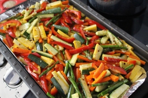 Veggies ready for their oven time